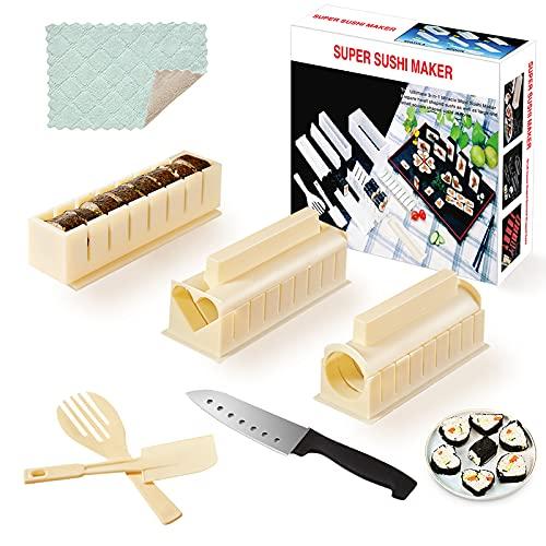 SKYSER 12 Pièces Sushi Maker Kit - Moules à Sushi Plastique Kit de Sushi Complet Riz Rouleau Moules Sushi Set avec Couteau à Sushi Cuisine DIY Kit Sushi- Blanc Cassé