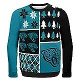 NFL Jacksonville Jaguars BUSY BLOCK Ugly Sweater, Large