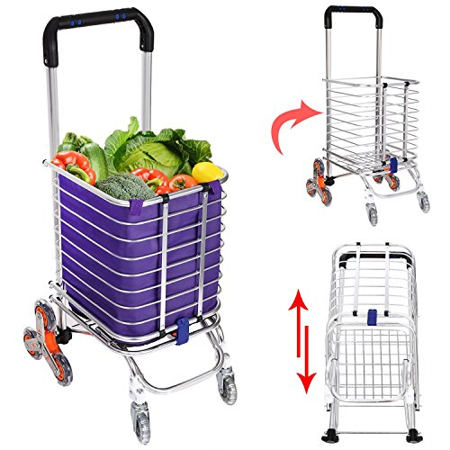 Korie Shopping Cart, Stair Climbing Grocery Utility Cart with Rolling Swivel Wheels Bearings & Removable Waterproof Canvas Bag - 177 Pounds Capacity [US Stock] (Silver with Cloth Bag)