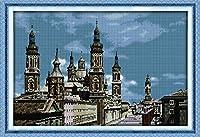 DIY クロスステッチキット、手作り刺繍キット 、図柄印刷 初心者 ホーム装飾 、壁の装飾 、クリスマス プレゼント, ヨーロッパの古城 40x50cm