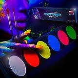Neon Glow Body Paint Palette by Blue Squid PRO - 6x10g Neon Color Palette, Professional UV Blacklight Body & Face Painting Set, Best Quality SFX Makeup Paint Supplies