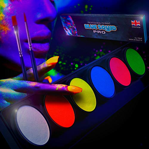 Neon Glow Body Paint Palette by Blue Squid PRO - 6x10g Neon Color...
