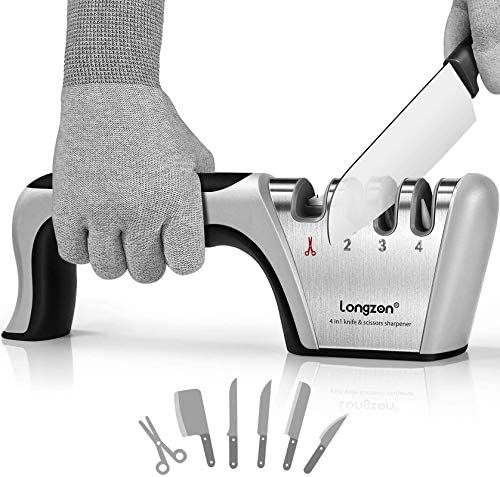 longzon 4 stage Knife Sharpener with a Pair of Cut Resistant Glove Original Premium Polish Blades product image