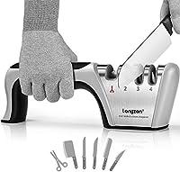 longzon affilacoltelli professionale, 4 in 1 affila coltelli da cucina con due guanti antitaglio, affilacoltelli manuale per coltelli dritti, forbici, sicuro e facile da usare