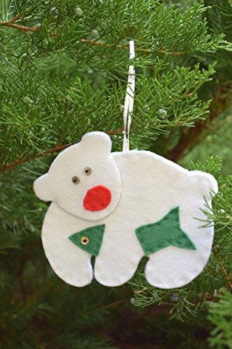 fühlte Ornament Eisbär Ornament Teddy Dekor Bär dekoration Verzierung feier Gefälligkeiten Baby dekoration Erste Kinderzimmer Dekor Kinderzimmer Dekor weißer Bär Baby dekor