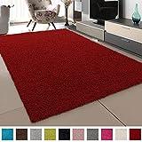 SANAT Teppich Wohnzimmer - Rot Hochflor Langflor Teppiche Modern, Größe: 160x230 cm