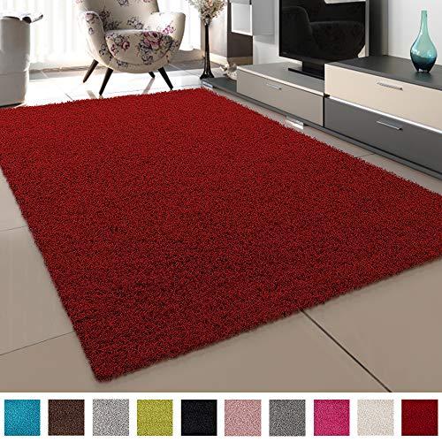 SANAT Teppich Wohnzimmer - Rot Hochflor Langflor Teppiche Modern, Größe: 120x170 cm