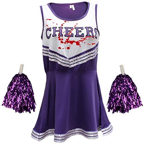 Zombie Cheerleader-Kostüm mit Tube Blut zum Spritzen nach Belieben Gr. 36, violett