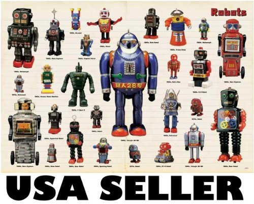 Robots tin toys space toys POSTER 34 x 23.5 with 27 classic robot toys from the 50s and 60s (sent FROM USA in PVC pipe)