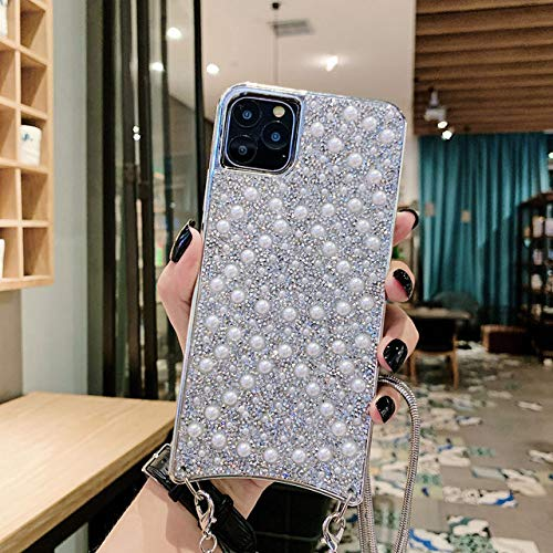 LIUYAWEI Crystal Necklace Lanyard Phone Case para iPhone 11 Pro MAX X XR XS 7 8 6 6s Plus Fundas Cord Crossbody Cover, A, para 6Plus o 6s Plus