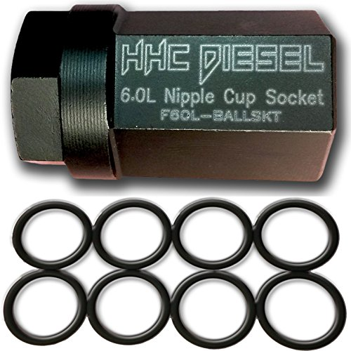 HHC Diesel ~Ford 6.0L Diesel Nipple Cup Socket Kit~ O-Rings & Tool (8: Heavy Duty Viton O-Rings & 1/2