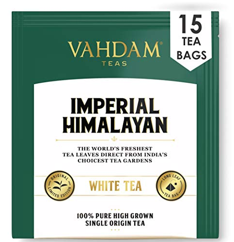 Tè bianco dell'Himalaya imperiale 15 bustine di tè, bustine di tè bianco piramidale a foglia lunga Raccolta raccolta da proprietà di alta quota, tè bianco puro, 100% sano e naturale, non miscelato