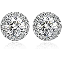 Anmao Stud Fashion Cubic Zirconia Halo Earrings