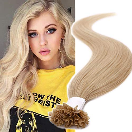 (40-60cm) U Tip Extension Cheratina Capelli Veri 1g * 50 Ciocche #24 Biondo Naturale Lisci Punte Piene 40cm Remy Human Hair Extension Keratina