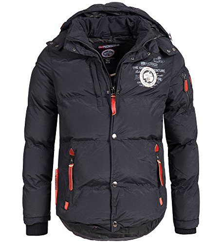 Geographical Norway Herren Outdoor Parka warme Winterjacke Steeppjacke, XXL, Schwarz
