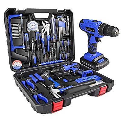 LETTON 21V Tool Set with Drill, 350 in-lb Torque, 0-1350RMP Variable Speed, 10MM 3/8'' Keyless Chuck, 18+1 Clutch, 1.3Ah Li-Ion Battery & Charger for Home Tool Kit