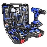 LETTON Maletín de herramientas con taladro eléctrico, batería de 21 V, para 108 accesorios, kit de herramientas de reparación para el hogar, color azul