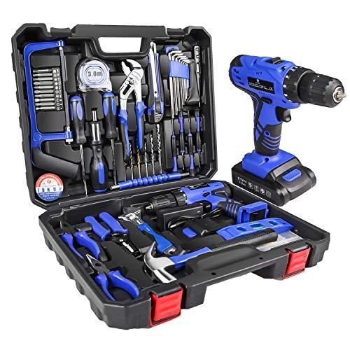 LETTON - Cassetta degli attrezzi con trapano a batteria da 21 V e 108 accessori, kit per riparazioni domestiche, colore blu