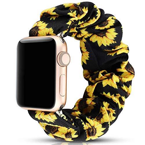 Miimall - Bracciale Scrunchie Compatibile con Apple Watch Series 5/4/3/2/1 (40Mm/38Mm, Girasole Giallo)