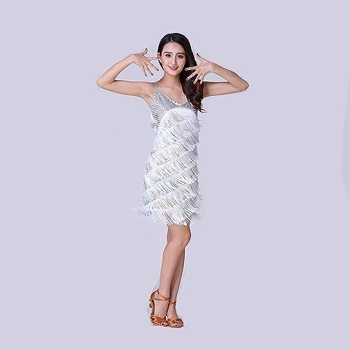 Xueyanwei Femmes Classique Latin Danse Jupe Latine Danse Robe Frange Paillettes Perforhommece Costume Concurrence Perforhommece Costume
