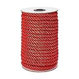 PandaHall Cuerda decorativa roja de 8 mm, 20 yardas trenzadas para lazos de cortina, tapicería, cordón de honor, guirnalda de Navidad, asas de bolsos
