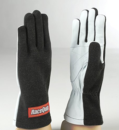 RaceQuip Basic Race Gloves 350 Series 1 Layer Nomex Non SFI Black Large 350005