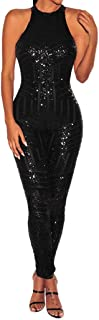 fb8555ff84e Sunyastor Women Sparkly Sequins Lace up Backless O-Neck Sleeveless Bodycon  Long Jumpsuit Off Shoulder