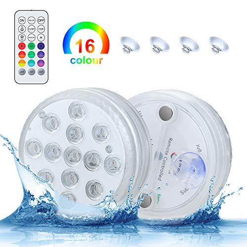 Unterwasser Licht, 2 Stück Poolbeleuchtung Unterwasser Led Licht Wasserdichte Multifarbige RGB Beleuchtung mit RF Fernbedienung 13 LED Lampe für Teich Schwimmbad Garten Vase Party Fest Dekoration