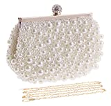 UBORSE Pearl Beaded Clutch Evening Bags for Women Formal Bridal Wedding Clutch Purse Prom Cocktail Party Handbags (One Size, White)