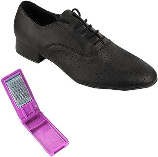 Very Fine Ballroom Latin Tango Salsa Dance Shoes for Men - 919101-1 Inch Heel + Foldable Shoe Brush Bundle-Black Perforated - 8