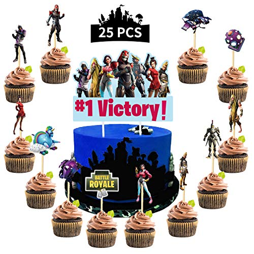 Fortnite Battle Royale Video Game Cake Topper, New Style Cupcake Topper Season 9 for Game Fans Birthday Party, 25Pcs Cake Decorations Supplies for Boy,Kids,Adults