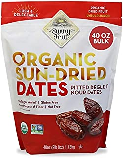 ORGANIC Pitted Dates (Deglet Nour) - Sunny Fruit 40oz Bulk Bag (2.5 lbs) | NO Added Sugars, Sulfurs or Preservatives | NON...