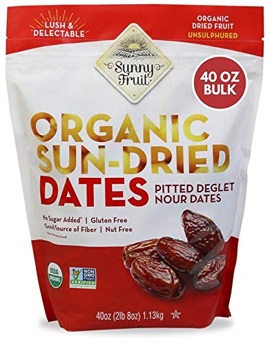 ORGANIC Pitted Dates (Deglet Nour) - Sunny Fruit 40oz Bulk Bag (2.5 lbs) | NO Added Sugars, Sulfurs or Preservatives | NON-GMO, VEGAN, HALAL & KOSHER