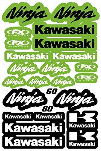 Kit DE Adhesivos COMPATIBLES para Casco Kawasaki Ninja PATROCINADOR Motocicleta Cross Enduro (60)