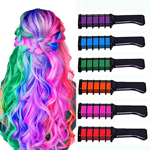 New Hair Chalk Comb Temporary Bright Hair Color Dye for Girls Kids, Washable Hair Chalk for Girls Age 4 5 6 7 8 9 10 New Year Birthday Party Cosplay DIY Childrens Day, Halloween, Christmas,6 Colors