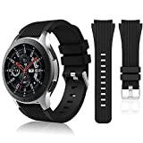 HSWAI Compatible Samsung Galaxy 46mm/ Gear S3 Frontier/ Classic Watch Bands, Soft Silicone Band 22mm Replacement for Samsung Galaxy Watch SM-R800 (46mm),Gear S3 Frontier, Classic Smart Watch.(black)