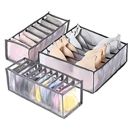 munloo 3 Stück Unterwäsche Schubladen Organizer, Faltbar Aufbewahrungsboxen für Unterwäsche, für Unterwäsche, Socken, Krawatten, Faltbox, Stoffbox (Grau)