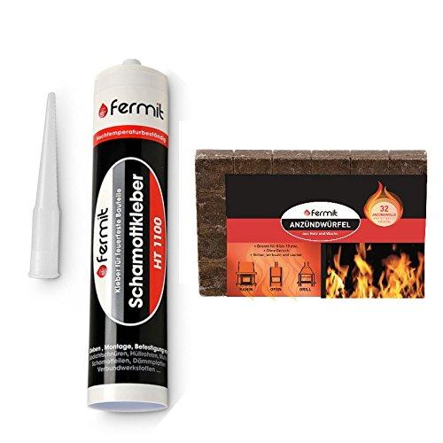 Fermit Schamottkleber beige Temperaturbeständigkeit: über +1100°C (310 ml) und 24x Anzündwürfel aus Holzfaser und Pflanzenöl Brenndauer ca. 8 Min.
