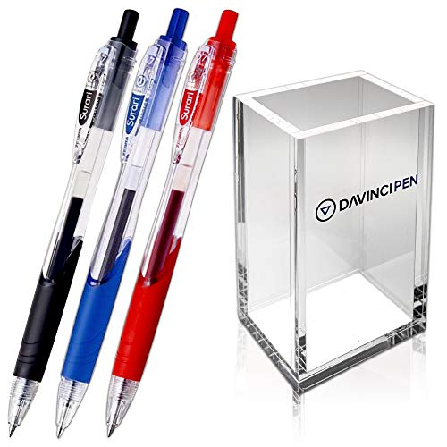 ZEBRA PENS Ballpoint Pen 0.7mm Surari (Emulsion Ink) Pack of 3 (Black, Blue, Red) with DAVINCIPEN Acrylic Pen Holder