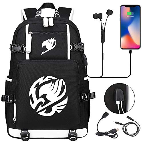 LKKOY Fairy Tail Travel Laptop Backpack, School Computer Backpack with USB Charging Port & Headphone Interface Anime Movie USB Backpack with Charging Port Black