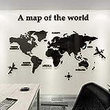Mapa Mundi Pared Grande,Decoración De Pared De Mapa Del, Acrílico Pegatinas De Pared Decoración Oficina Estudio Sala De Estar Sofá Fondo Pegatinas De Pared 280 * 140cm Negro