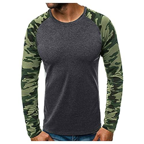 Camiseta de manga larga para hombre con estampado de camuflaje y costuras A_gris L