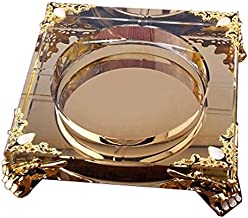 JLZS Crystal Ashtray Creative Personality Trend Multi-Function European Living Room Glass Ashtray Home Large-Scale Custom (Color : Gold, Size : 20cm)