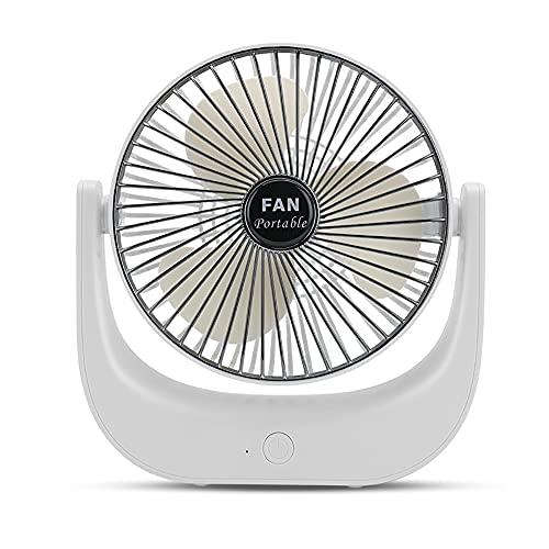 YZDKJDZ Ventilador De Escritorio con Batería Pequeña, Ventilador De Escritorio Portátil, Ventilador USB Ventilador De Mesa Pequeño con 3 Velocidades, Viento Fuerte, Funcionamiento Silencioso