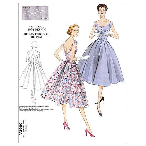 Vogue 2960 - Patrón de Costura para Vestido Vintage de Mujer (1 Modelo)