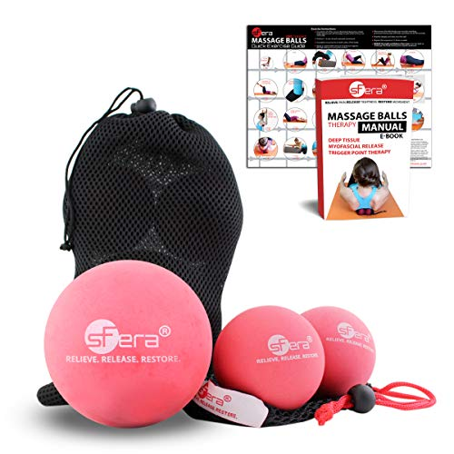 sFera Yoga Massage Ball Set, Deep Tissue Massage, Trigger Point and Myofascial Release, Includes 1 X-Large Massage Ball and 2 Lacrosse Size Balls with Mesh Bag (Firm Rubber Balls - 3)