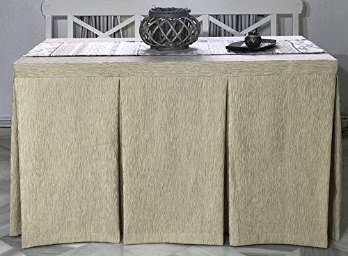 Faldas mesa camilla rectangular chenilla modelo arena trenzado