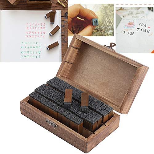 Holz Stempel Set,Jectse 70 Stück Alphabet Buchstaben Anzahl Symbol Stempel Vintage-Stil Alphabet Buchstaben Zahlen Set für Papier,Stoff,Kunststoff,Glas und Holz