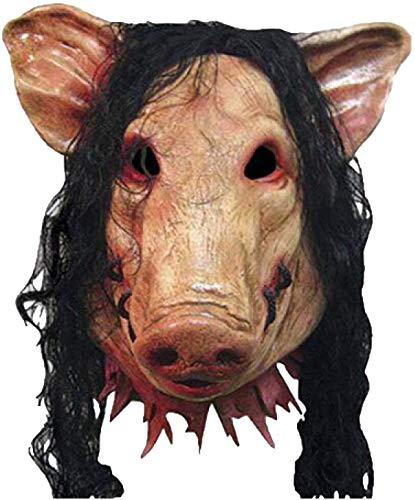 MARDI GRAS Mascarilla, máscara anónima, máscaras de disfraces, accesorios de halloween, máscara de la cabeza, cara de la cabeza, cara de cerdo de la cara con cabello con máscara de halloween fiesta de