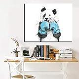 SQSHBBC Cute Cartoon Animal Minimalist Panda Boxer Pintura al óleo sobre Lienzo...